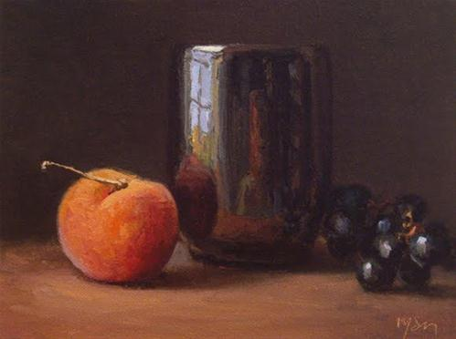 """Still Life with Peach and Grapes"" original fine art by Abbey Ryan"