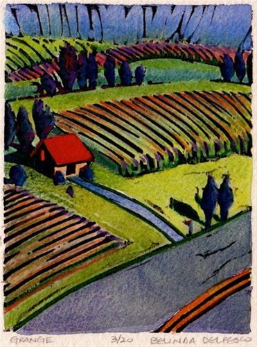 """Woodcut: Grange (Aerial Landscape of Farmland)"" original fine art by Belinda Del Pesco"