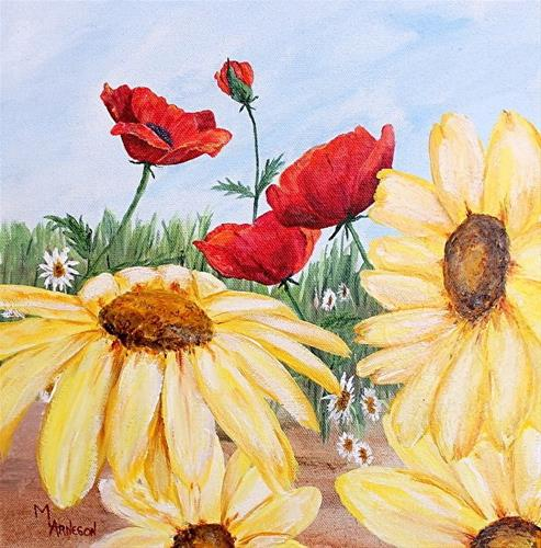 """Contemporary Flower Art Painting Poppy Daisy, Sunkissed  by Mary Arneson Art-Works of Whimsy"" original fine art by Mary Arneson"