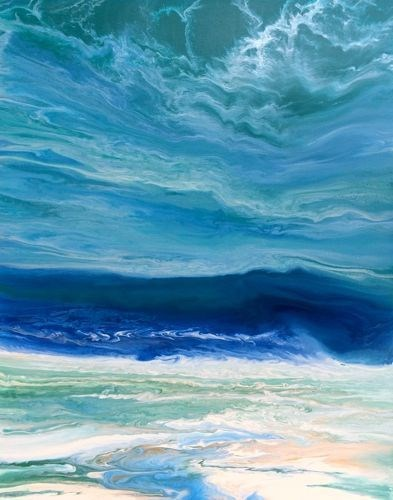 """Original Contemporary Abstract Seascape Beach Painting,Coastal Decor Art Royal Wave III by Colorad"" original fine art by Kimberly Conrad"
