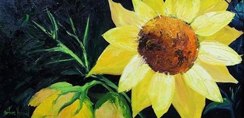 """Sunflowers Yellow Flowers,oblong,canvas,Texas Artist, Barbara Haviland"" original fine art by Barbara Haviland"