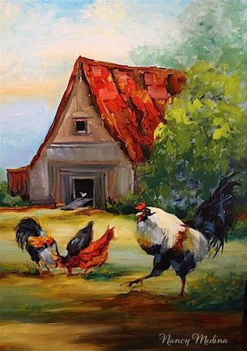 """Farmyard Drama - Rooster Painting by Texas Artist Nancy Medina"" original fine art by Nancy Medina"