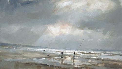 """""""Seascape spring # 9 - zeegezicht"""" original fine art by Roos Schuring"""