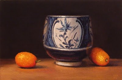"""Blue & White Cup with Kumquats"" original fine art by Abbey Ryan"