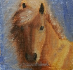 """Beau 4×4 mini"" original fine art by Nanci Fulmek"