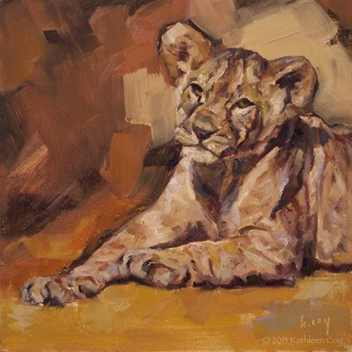 """Lion Cub - Framed"" original fine art by Kathleen Coy"