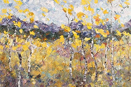 """Original Palette Knife  Aspen Tree Art Impressionism Landscape Painting Afternoon Nuance  by  Colo"" original fine art by Judith Babcock"