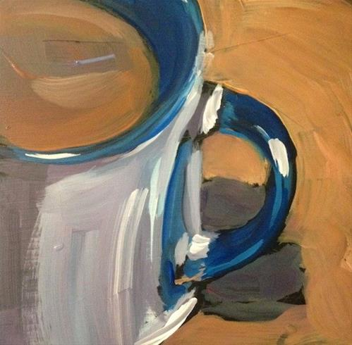 """Blue Trimmed Mug"" original fine art by Kat Corrigan"