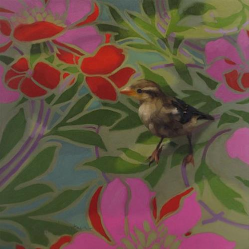 """Sparrow Meets Pattern 12 x 12 original painting"" original fine art by Diane Hoeptner"