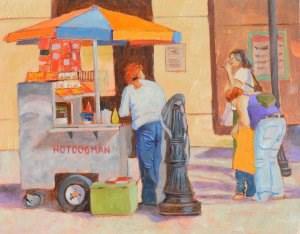 """""""Hot Dog Woman"""" original fine art by Robert Frankis"""