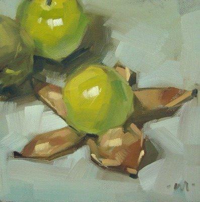 """""""Tomatillo's Undressing"""" original fine art by Carol Marine"""