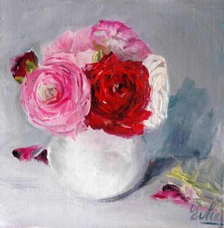 """Petit vase blanc"" original fine art by Evelyne Heimburger Evhe"