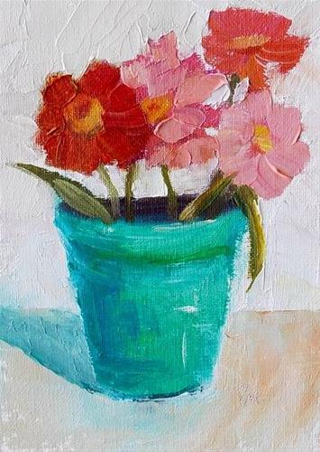 """Flowers in Turquoise Pot"" original fine art by Pamela Munger"
