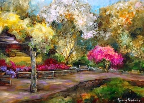 """Dallas Arboretum Azaleas and Cherry Blossom Stroll by Floral Artist Nancy Medina"" original fine art by Nancy Medina"