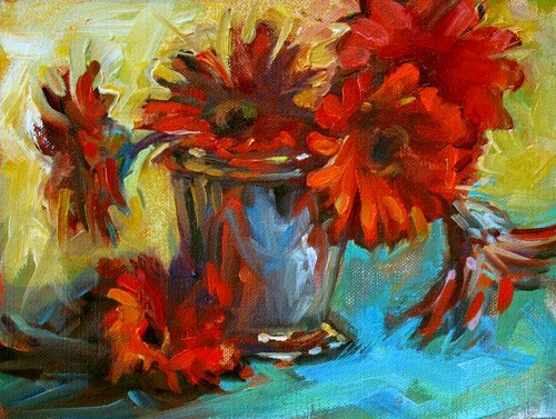 """Gerber Daisies"" original fine art by Karen Bruson"