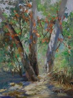 """Red Leaves"" original fine art by Kelvin Lei"