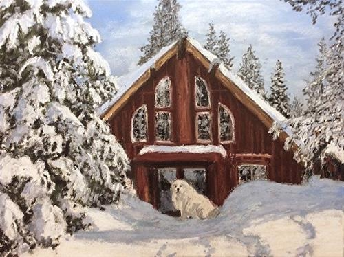 """Lost Trail Lodge Greeter"" original fine art by Marti Walker"