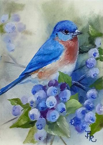 """Blueberry Bluebird"" original fine art by Paulie Rollins"