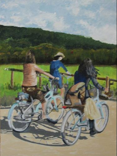 """Bicycle Group"" original fine art by Nan Johnson"