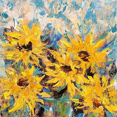 """Original Palette Knife Sunflower Painting Sunflowers Five  by Colorado Impressionist Judith Babcoc"" original fine art by Judith Babcock"