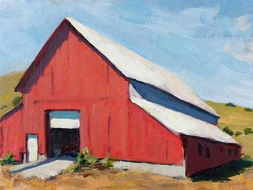 """Big Barn"" original fine art by J. Farnsworth"