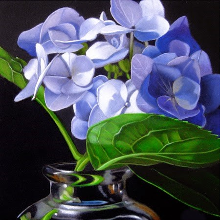 """Small Hydrangea 4x4"" original fine art by M Collier"