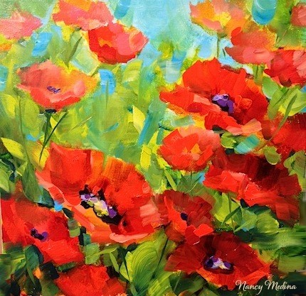 """A New Poppy DVD - Crimson Shadows Poppies"" original fine art by Nancy Medina"