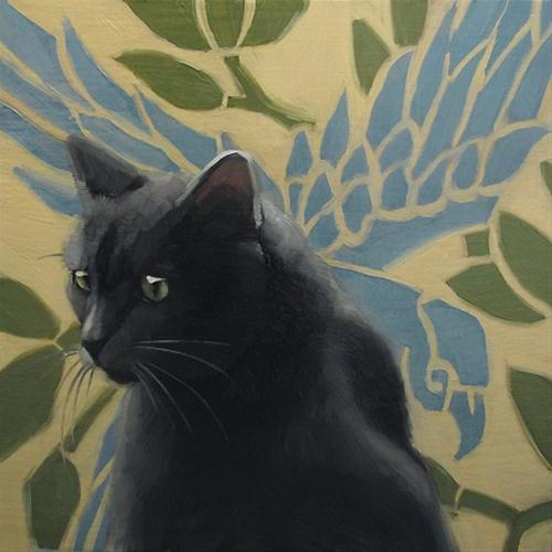 """Gray Cat Blue Bird small oil painting"" original fine art by Diane Hoeptner"