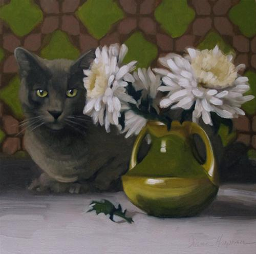 """On Duty gray cat and white mum painting"" original fine art by Diane Hoeptner"