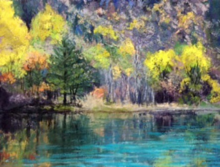 """Autumn on the Lake"" original fine art by Marti Walker"