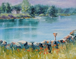 """Morning Light on Lake Waynoka, 8x10 acrylic landscape"" original fine art by Donna Pierce-Clark"