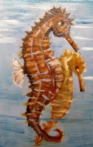 """A Pair of Seahorses miniature oil painting"" original fine art by Barbara Haviland"