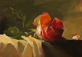 """Red Rose Study 3"" original fine art by Qiang Huang"
