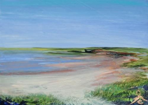 """3198 - LOWLAND BEACH - ACEO Series"" original fine art by Sea Dean"