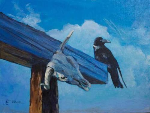 """Raven Wildlife Painting Violet-Contemplates-Mortality by Colorado Western Landscape Painter Nancee"" original fine art by Nancee Busse"
