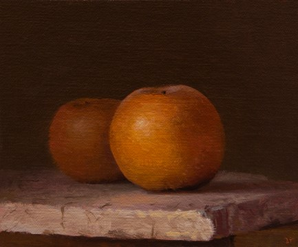 """Two Asian Pears on Marble  (+ a Special Contest !)"" original fine art by Abbey Ryan"