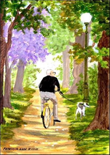 """""""Grandpa & Bingo in the Park"""" original fine art by Patricia Ann Rizzo"""
