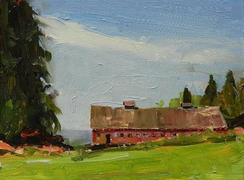 """The Barn by Egg and I Road oil landscape painting by Robin Weiss"" original fine art by Robin Weiss"