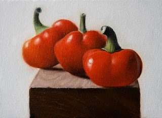 """Red Cherry Peppers 3"" original fine art by Jonathan Aller"