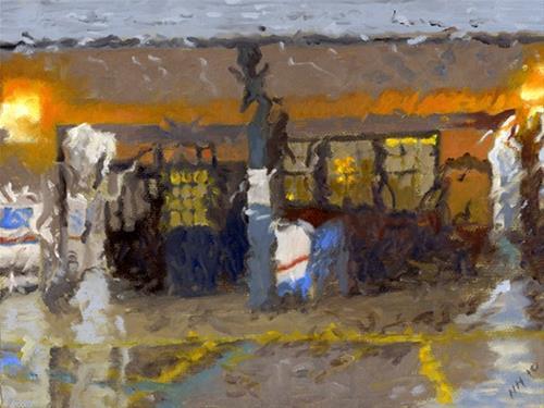 """Merion Station in the Rain"" original fine art by Nancy Herman"