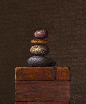 """""""Stacked Stones (Cairn) No. 2 (present moment)"""" original fine art by Abbey Ryan"""
