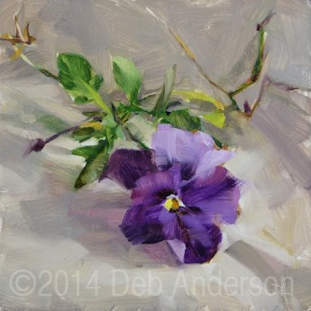 """Oil Painting of a Pansy"" original fine art by Deb Anderson"