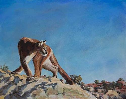 """Original Puma Wildlife Painting  HIGH DESERT PUMA by Colorado Western Landscape Painter Nancee Jea"" original fine art by Nancee Busse"
