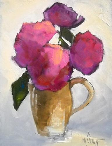 """Flower Painting, Daily Painting, Peony and Pitcher by Carol Schiff, 8x6 Oil"" original fine art by Carol Schiff"
