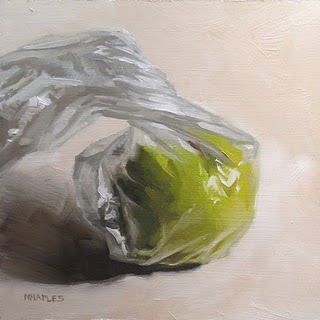 """Bagged Apple"" original fine art by Michael Naples"