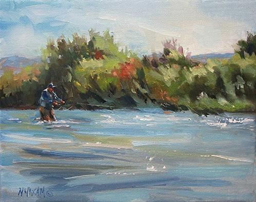 """High Water, more fly fishing ...Big Horn River"" original fine art by Mary Maxam"