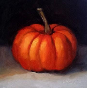 """""""Little Pumpkin"""" original fine art by Cindy Haase"""