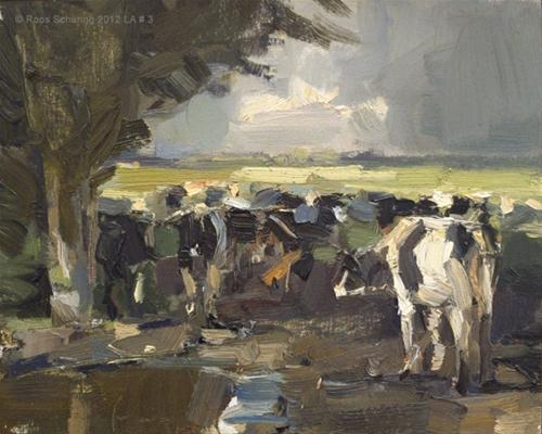 """Landscape autumn #3 Cows - Meeting again (Koeien)"" original fine art by Roos Schuring"