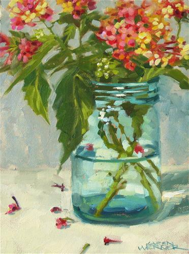 """Lantana Jar"" original fine art by Karen Werner"