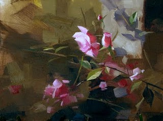 """Fort Worth Roses --- Sold"" original fine art by Qiang Huang"